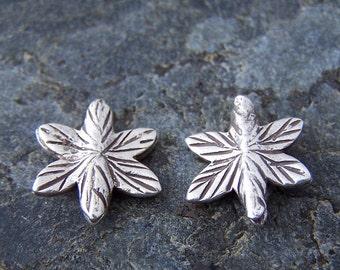 Super Sale! Last One - 2 - Thai Karen Hills Tribe Silver 16mm Star Leaf Beads
