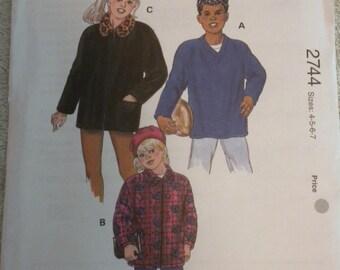 Kwik Sew 2744 Girls and Boys Shirt Jackets