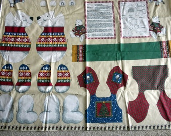 Polar Bear in Vest With Scarf  Panel