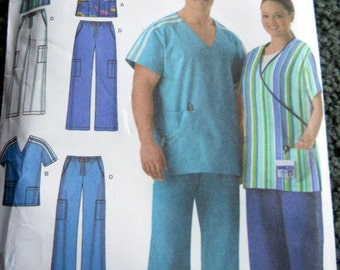 Simpicity 4101 Womens and Mens Scrub Tops and Pants in Sizes S,M,L