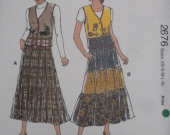 Kwik Sew 2676 Misses Vest and Skirt