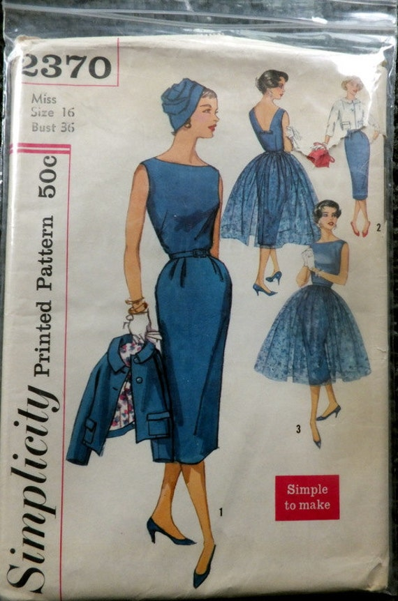 Vintage Simplicity 2370  Jr Misses and Misses One-Piece Dress, Jacket and Overskirt