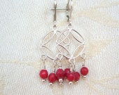 Red Coral Circle Earrings