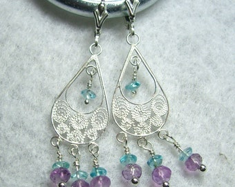 SOLD Amethyst and Blue Aquamarine Chandelier Earrings