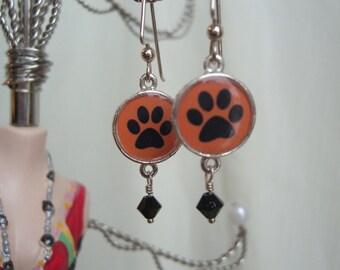 Orange and Black Paw Print Earrings