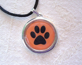Black and Orange Paw Print Pendant