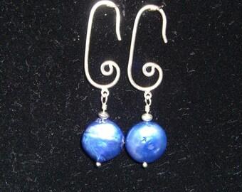 Blue Fresh Water Pearl Earrings