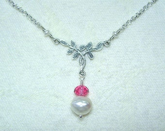 Pearl and Pink Crystal Necklace with Silver Leaves and Vines
