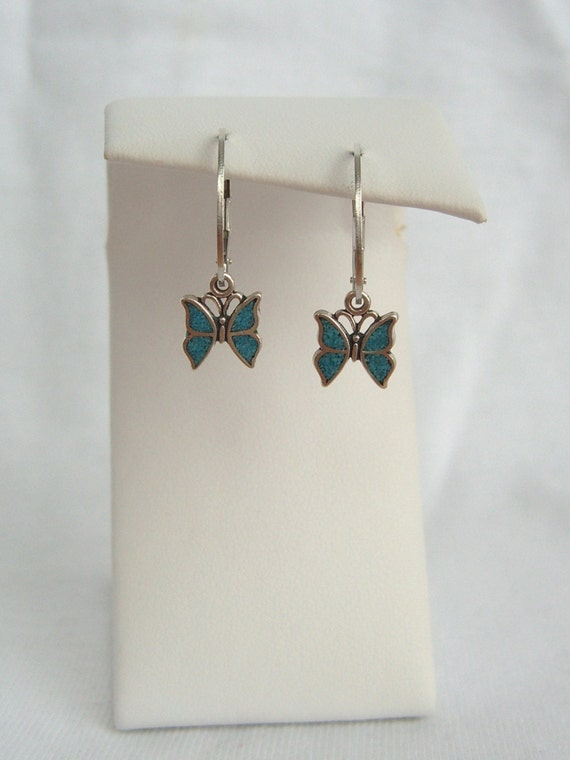 Silver and Blue Butterfly Earrings