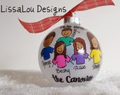 "Personalized Family Christmas Ornament 4"" frosted opaque - hand painted handpainted art gift friends, mom and dad"
