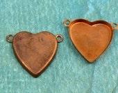 Vintage Copper (12) Heart Bezel Cup Connectors w/ 2 loops 14x15mm