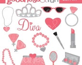 Buy 2, Get 1 FREE - Little Miss Diva Clipart - Digital Jewelry & Makeup Cliaprt - Instant Download