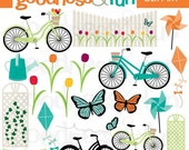 Buy 2, Get 1 FREE - Lazy Spring Day Clipart - Digital Spring Clipart - Instant Download