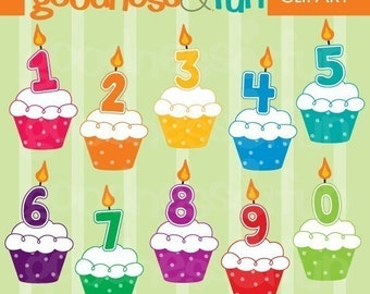 Buy 2, Get 1 FREE - Birthday Number Cupcakes Clipart - Digital Birthday Clipart - Instant Download