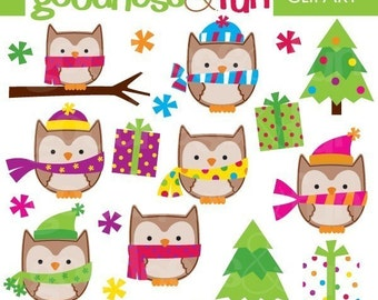 Buy 2, Get 1 FREE - Winter Owls Christmas Clipart- Digital Owl Christmas Clipart - Instant Download