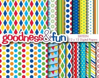 Buy 2, Get 1 FREE - Carnival Fun Digital Papers - Digital Paper Pack - Instant Download
