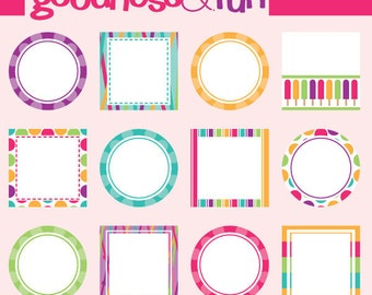 Buy 2, Get 1 FREE - Summer Frames Clipart - Digital Frames Clipart - Instant Download