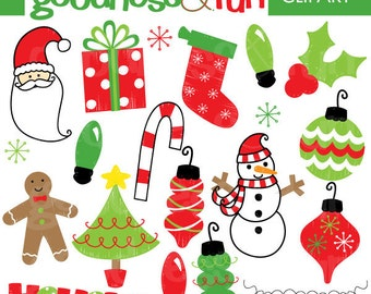 Buy 2, Get 1 FREE - Holiday Doodles Christmas  Clipart - Digital Christmas Clipart - Instant Download