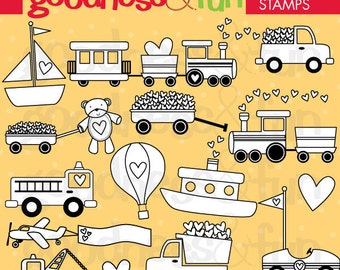 Buy 2, Get 1 FREE - Sweet Transportation Digital Stamps - Digital Transportation Stamps - Instant Download