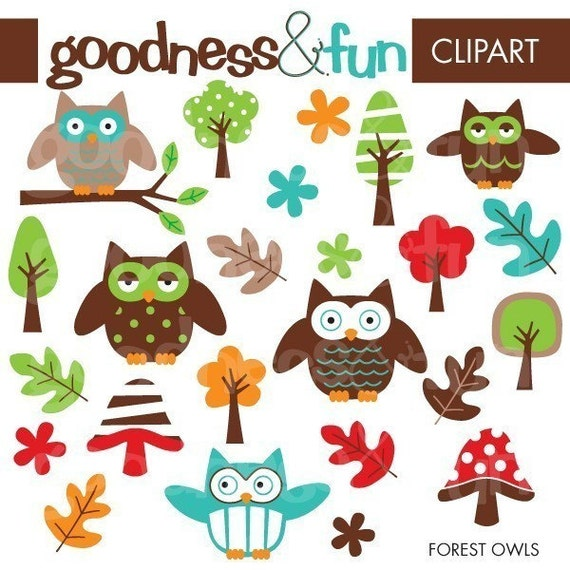 Buy 2, Get 1 FREE - Forest Owls Clipart - Digital Forest Owl Clipart - Instant Download