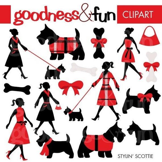 Buy 2 Get 1 FREE Stylin Scottie Dog Clipart Digital