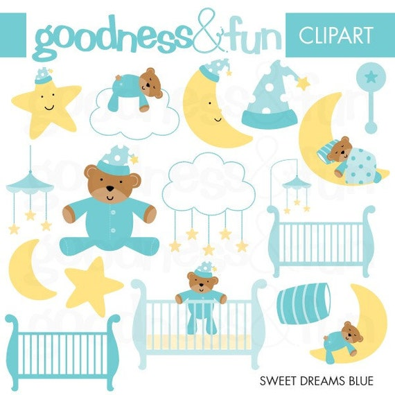 Buy 2, Get 1 FREE - Sweet Dreams Blue Clipart - Digital Baby Shower Clipart - Instant Download