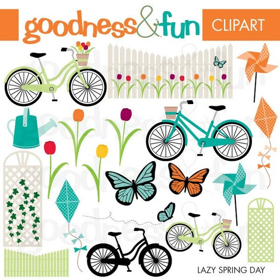 Buy 2 Get 1 FREE Lazy Spring Day Clipart Digital Spring