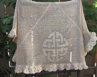 Filet Crochet Shawl with Victorian Border Pattern