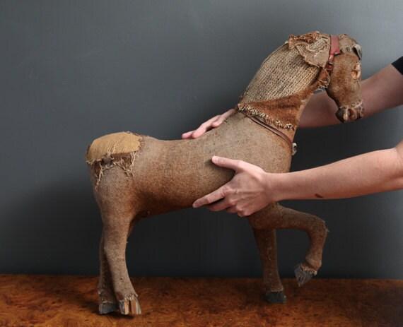 Large Vintage Burlap Horse