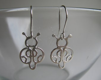 SALE 30% OFF hand fabricated sterling silver ladybug earrings