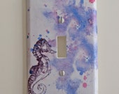 Light Switch Cover Sea Horse Art Great baby nursery Art decor Or For Any Ocean Theme