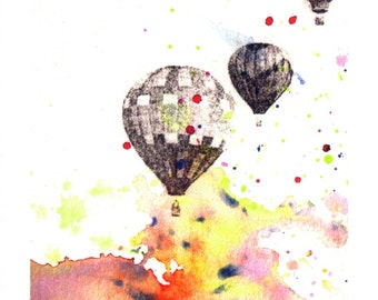 Hot Air Balloons Nursery Wall Decor From Orignal Watercolor Painting Nursery Art Print Nursery Decor Wall Art Bright Wall Art