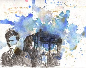 Doctor Who Art 10th Doctor David Tennant with the Tardis - 13 x 19 in. Doctor Who Poster Print From Original Watercolor Painting