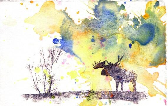 Moose Mini Original Painting Art For Sale
