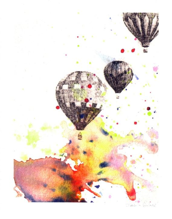 Hot Air Balloons Nursery Wall Decor From Orignal Watercolor Painting Nursery Art Print Nursery Decor Wall Art Bright Wall Art