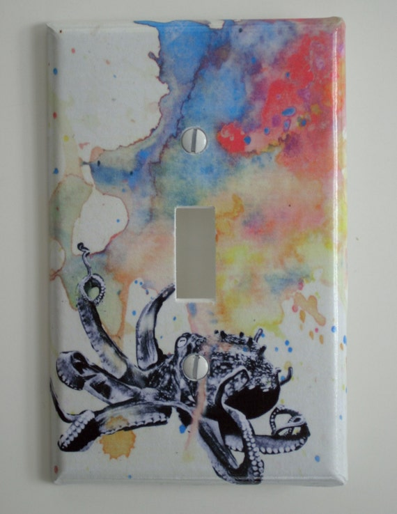 Octopus Decorative Light Switch Cover Plate Great Room Decor for Kids, Baby Nursery Art Decor, And Any Ocean Theme