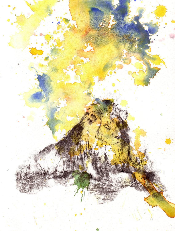 Lion Animal Watercolor Painting Original Watercolor Painting