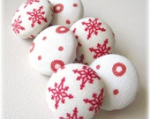 Reserved for Tassle1 - Snowflakes and Polka Dots Push Pin Set of 6