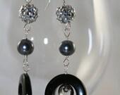 Black onyx and hematite,  peacock pearls, Swarovski crystal, sterling silver long EARRINGS