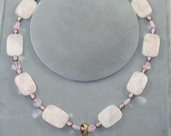 pink quartz necklace  pearls with pendant