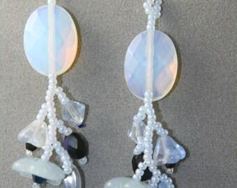 blue flower earrings long
