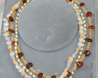 yellow necklace citrine opal amber multistrand with Swarovski crystals and Czech glass