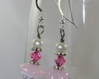 pink flowers dangle earrings