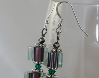 sterling silver stripes glass  green dangle  earrings with swarovski crystals