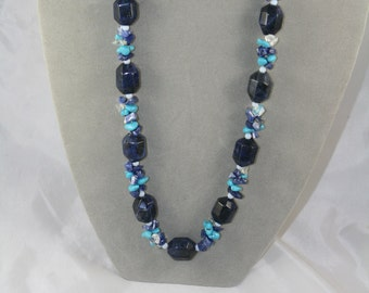 turquoise beaded necklace blue with lapis