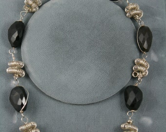 black stone necklace and bracelet sterling silver coils