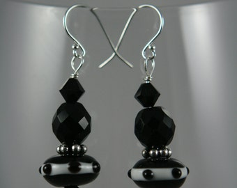 black and white glass sterling silver Earrings