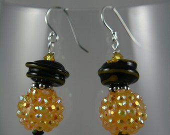 black and yellow glass lampwork Swarovski crystals sterling silver dangle Earrings
