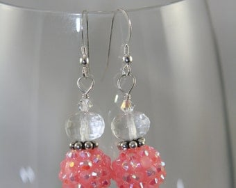 pink glass sterling silver dangle earrings
