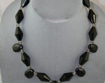black stone necklace with Swarovski crystals